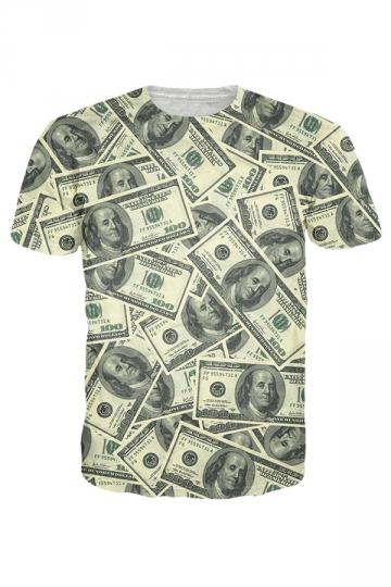 Womens Crewneck Short Sleeve Dollars 3D Print T-shirt Gray
