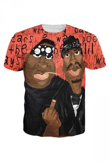 Womens Crewneck Short Sleeve Tupac Shakur 3D Digital T-shirt Red