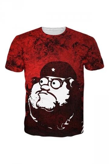 Womens Crewneck Short Sleeve Family Guy 3D Digital T-shirt Red