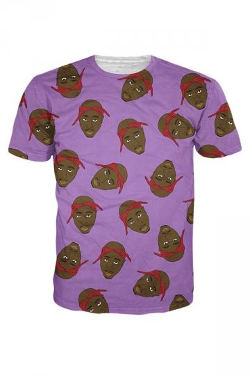 Womens Crew Neck Short Sleeve Tupac Shakur 3D Print T-shirt Purple