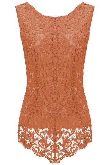 Womens Fashion Lace Crewneck Sleeveless Blouse Orange