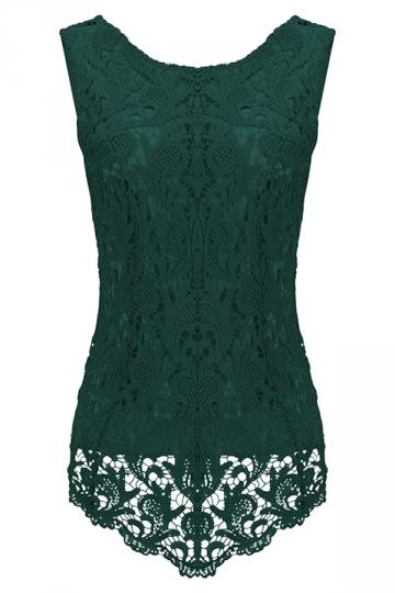 Womens Fashion Lace Crewneck Sleeveless Blouse Dark Green