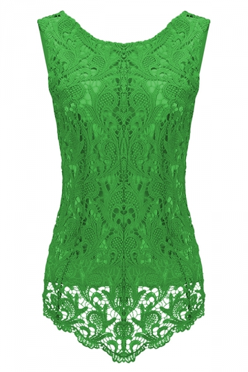 Womens Fashion Lace Crewneck Sleeveless Blouse Green