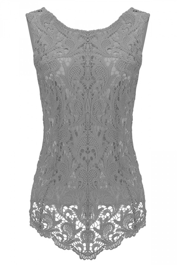 Womens Fashion Lace Crewneck Sleeveless Blouse Gray