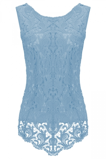 Womens Fashion Lace Crewneck Sleeveless Blouse Light Blue