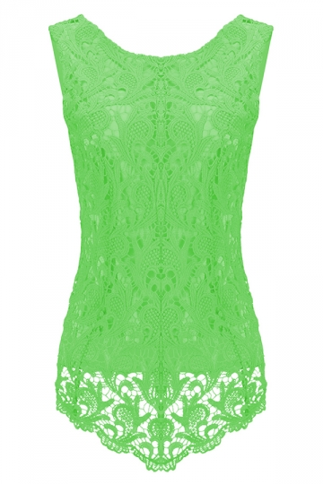 Womens Fashion Lace Crewneck Sleeveless Blouse Light Green