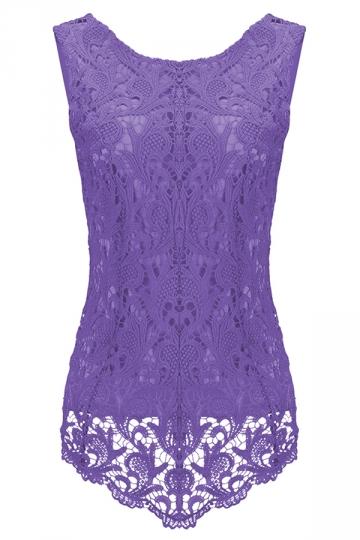 Womens Fashion Lace Crewneck Sleeveless Blouse Light Purple