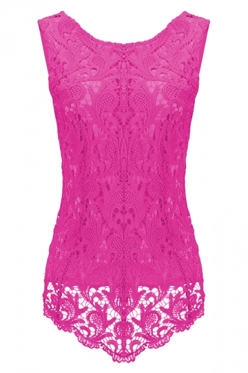 Womens Fashion Lace Crewneck Sleeveless Blouse Rose Red