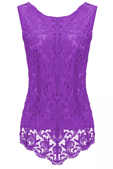 Womens Fashion Lace Crewneck Sleeveless Blouse Purple