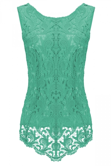 Womens Fashion Lace Crewneck Sleeveless Blouse Turquoise