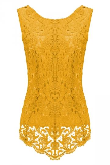 Womens Fashion Lace Crewneck Sleeveless Blouse Yellow