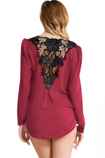 Womens V Neck High-low Lace Back Long Sleeve Blouse Ruby