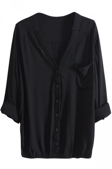 Womens V Neck Tunic Single-breasted Long Sleeve Blouse Black