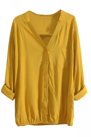 Womens V Neck Tunic Single-breasted Long Sleeve Blouse Yellow