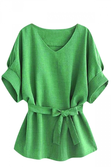 Womens Plus Size V Neck Tunic Short Sleeve Blouse Green