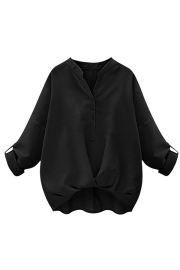 Womens Chic Plain V Neck Pleated Hem Pullover Blouse Black