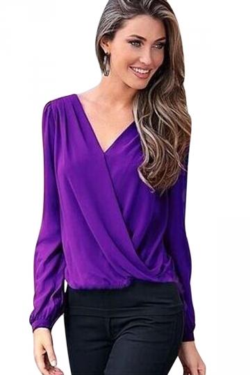 Womens Chic Plain V Neck Long Sleeve Chiffon Blouse Purple