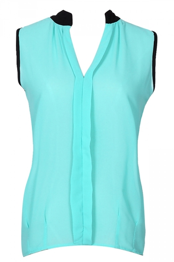 Womens V Neck Sleeveless Chiffon Blouse Turquoise