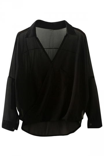 Womens Casual V Neck Long Sleeve Plain Chiffon Blouse Black