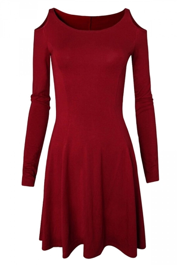 Womens Chic Off the Shoulder Pleated Long Sleeve Dress Ruby