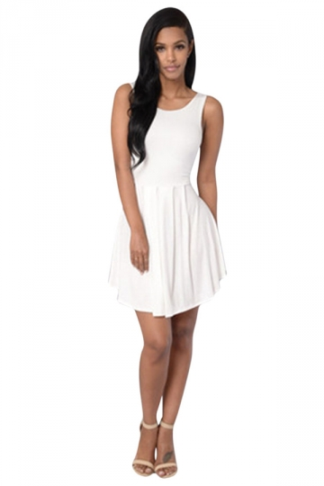 Womens Sexy Plain Sleeveless Backless Skater Dress White