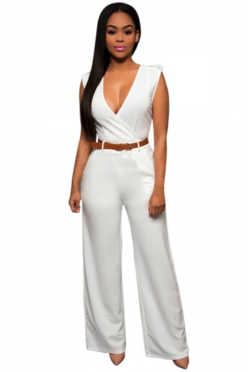 Womens Casual Plain V Neck Palazzo Jumpsuit with Belt White