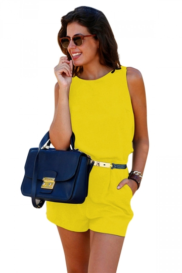 Womens Elegant Belted Sleeveless Backless Romper Yellow
