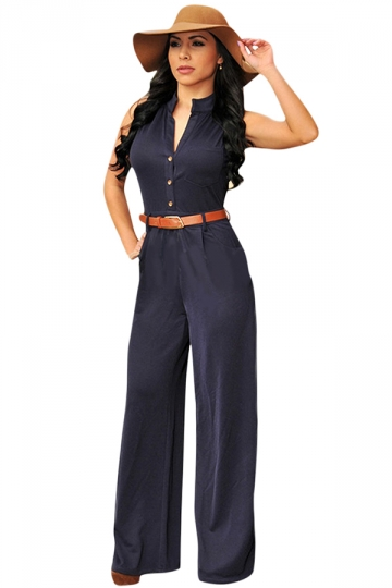 Womens Chic V Neck Buttons Palazzo Jumpsuit Navy Blue