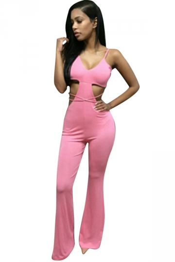 Womens Sexy V Neck Cut Out Bell Bottom Palazzo Jumpsuit Pink