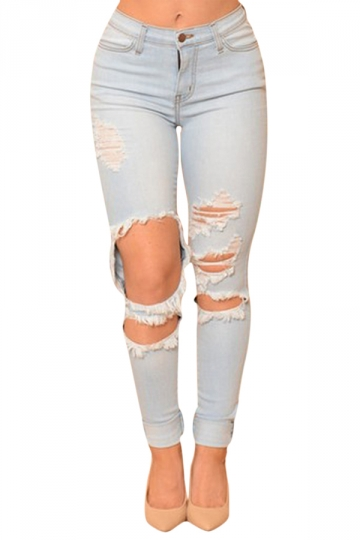 Womens Sexy High Waisted Bleach Wash Ripped Jeans Light Blue