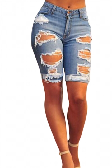 Womens Chic Ripped High Waisted Jeans Shorts Blue