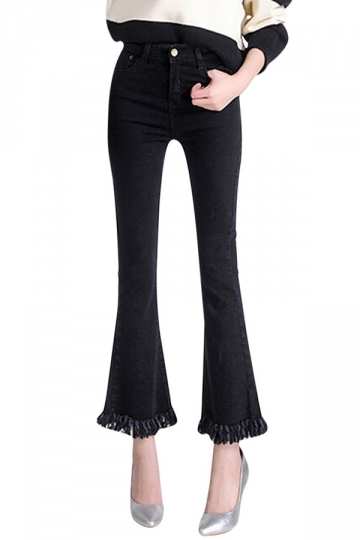 Womens Retro Slimming Tassel Bell Bottom Jeans Black
