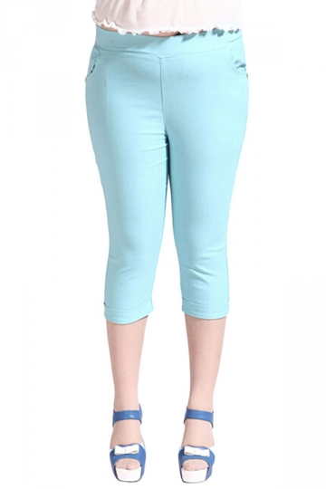 Womens Plus Size Plain Capri Leggings Light Blue