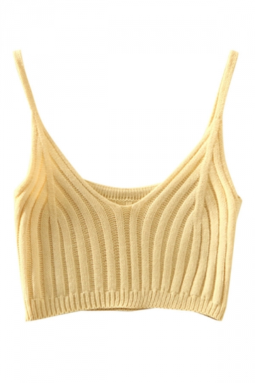 Womens Sexy Plain V Neck Crochet Crop Camisole Top Beige White