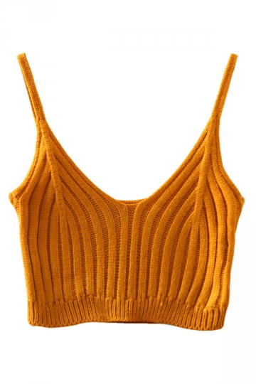 Womens Sexy Plain V Neck Crochet Crop Camisole Top Khaki