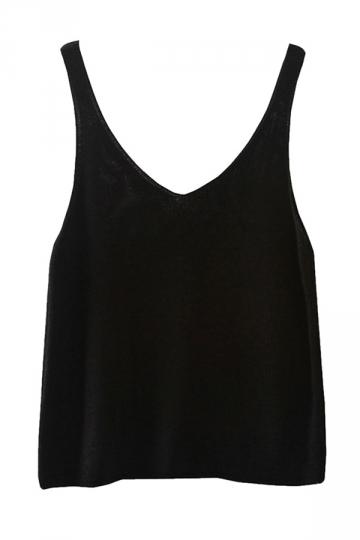 Womens Sexy Crochet Plain V Neck Camisole Top Black