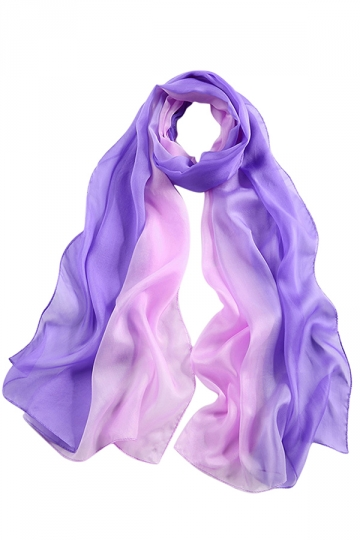 Womens Fashion Gradient Color Block Scarf Light Purple