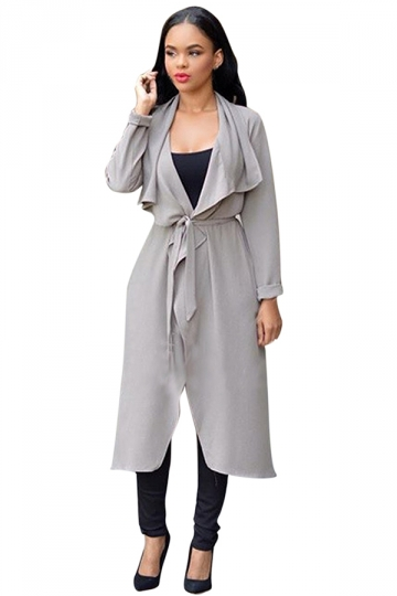 Womens Turndown Collar Long Sleeve Long Trench Coat Gray