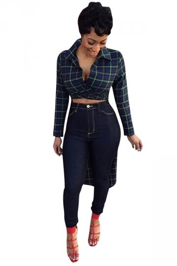 Womens Turndown Collar High Low Long Sleeve Trench Coat Dark Green