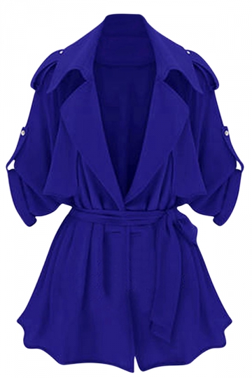 Womens Plain Turndown Collar Sash Trench Coat Sapphire Blue