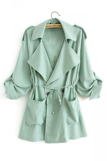 Womens Plain Turndown Collar Drawstring Waist Trench Coat Light Green