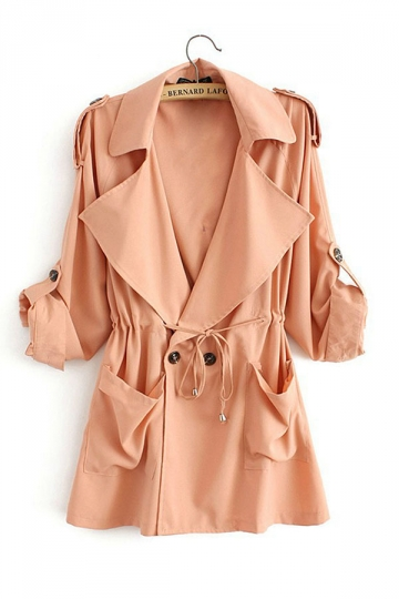 Womens Casual Plain Turndown Collar Drawstring Waist Trench Coat Pink