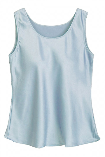 Womens Plain Metallic Crewneck Tank Top Light Blue
