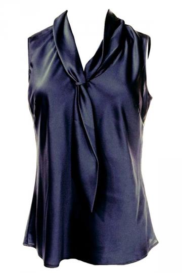 Womens Slimming Metallic Tie Collar Sleeveless Blouse Black