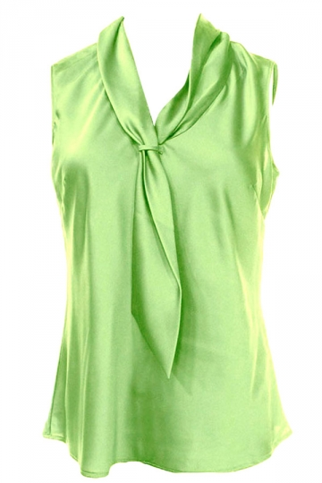 Womens Slimming Metallic Tie Collar Sleeveless Blouse Green