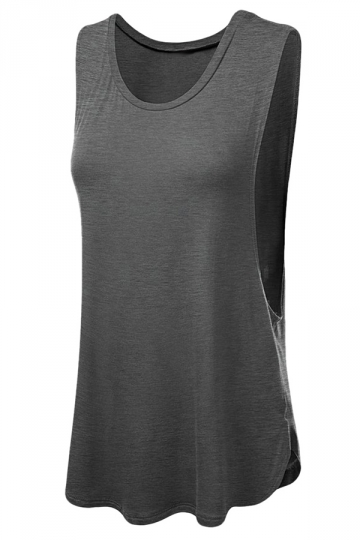 Womens Plain Round Neck Cut Out Side Tank Top Gray