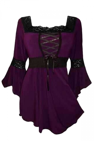 Womens Plus Size Square Neck Flare Sleeve Lace Up Blouse Purple
