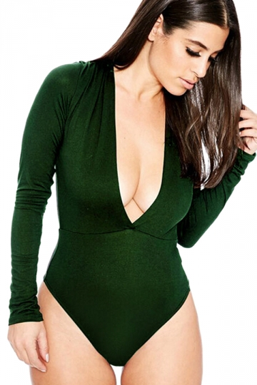 Womens Sexy Long Sleeve Deep V Neck Plain Bodysuit Green