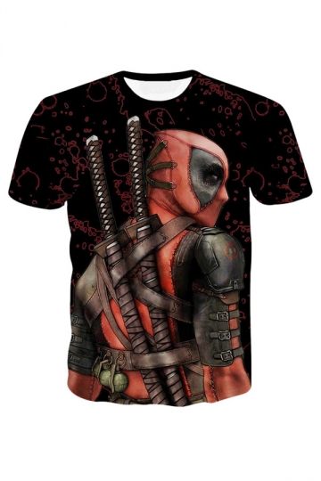 Womens Deadpool Printed Short Sleeve Tee Shirt Ruby