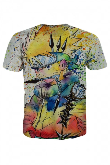 Womens Uzumaki Naruto Printed Short Sleeve Tee Shirt Yellow